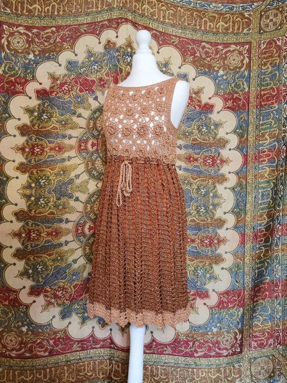 Vtg 1960s COPPER metallic crochet Babydoll Mini Dr