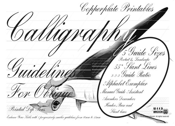 graphic about Copperplate Calligraphy Alphabet Printable named Hand Lettering Marketing consultant Letter Sizing Printable 55 Slant Copperplate Coach Strategies 5 Measurement Portrait Landscape Exemplar Down load