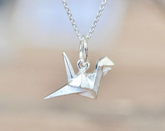 Belcho USA 925 Sterling Silver Small Origami Folded Paper Crane Jump Ring Pendant Necklace