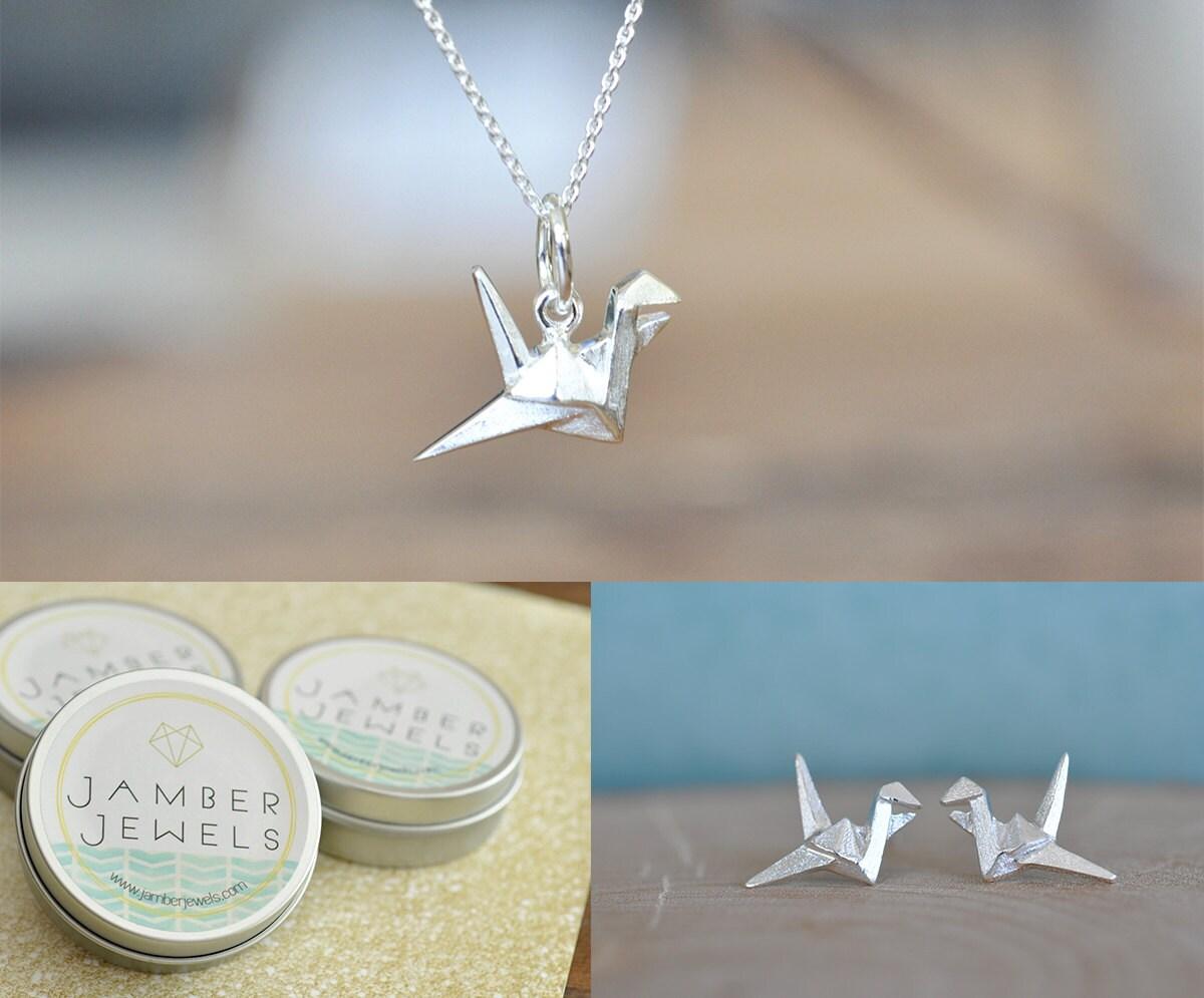 SETOrigami Crane Necklace and Earrings Matching Set | Etsy - photo#47
