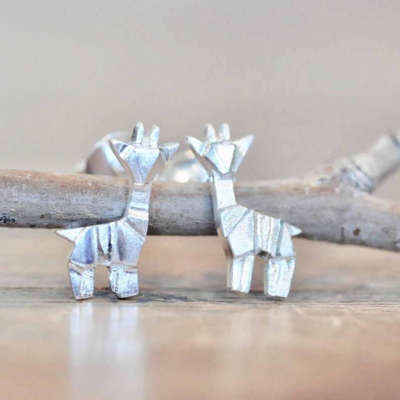 Solid 925 Sterling Silver Matte Cute Origami Crane Bird Girls Stud Earrings