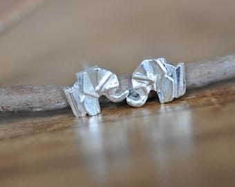 Sterling Silver Origami Elephant Earrings, Gold Elephant Earrings, Silver Elephant Earrings, Origami Animal Jewelry, Elephant Jewelry