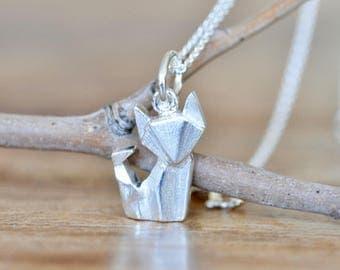 Origami Fox Necklace in Sterling Silver, Fox Necklace, Silver Fox Necklace, Origami Fox Charm Pendant, Fox Jewelry, Jamber Jewels Original
