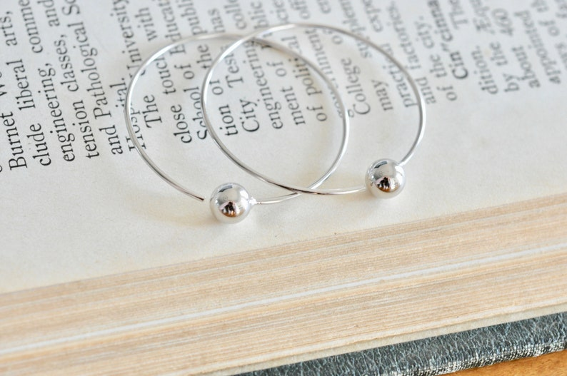 Jamber Jewels Hoop with Ball Earrings Modern Trendy Earrings Large Hoops Simple Hoop Earrings in Sterling Silver 925