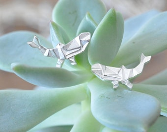 Origami Whale Stud Earrings in Sterling Silver 925 by Jamber Jewels, Origami Fish Earrings, Whale Jewelry, Ocean Jewelry