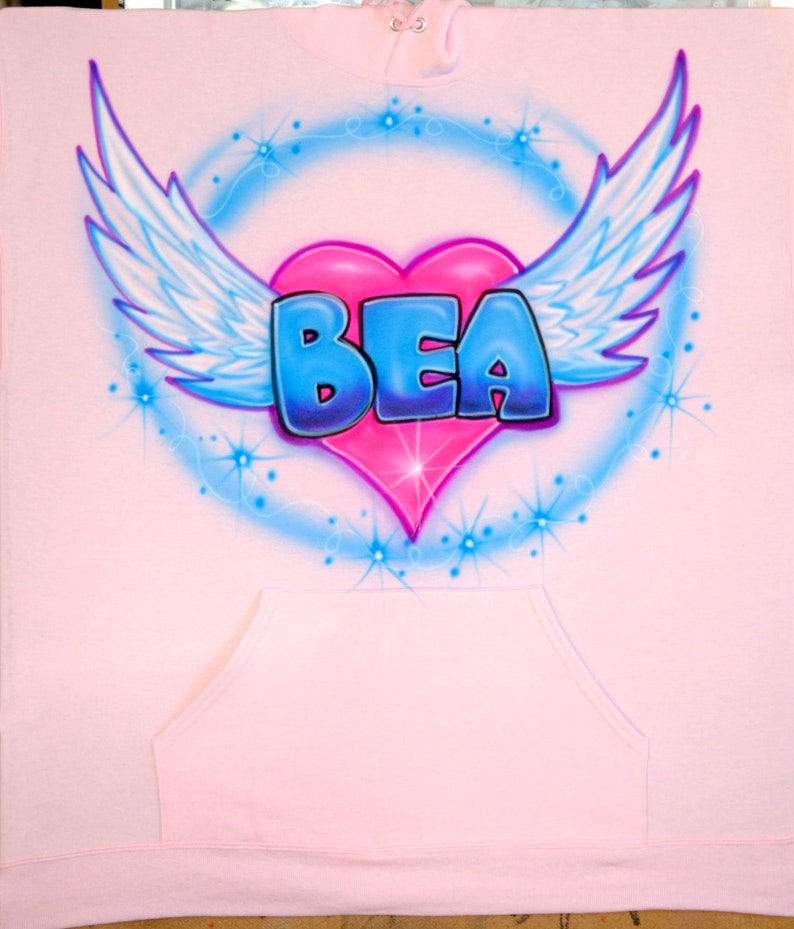008a4d8903cb Airbrush Baby Pink Angel Hoodie T Shirt Wings Heart Name Bea