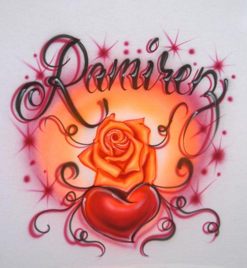 a0dc60f2be4700 Airbrush Orange Red Rose Heart Name Custom Airbrushed Girls