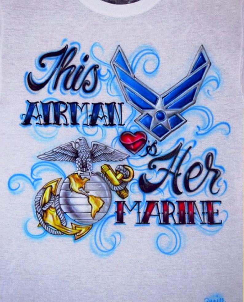 f5b73f2f52e2a3 Custom Airbrush Military Couple Airman Marine Airforce Navy