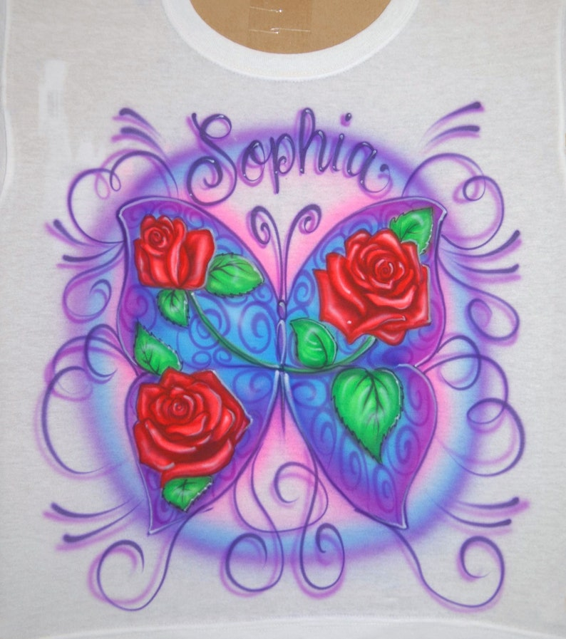 4b50f22af6ee70 Airbrush Purple Butterfly With Red Roses Design Custom