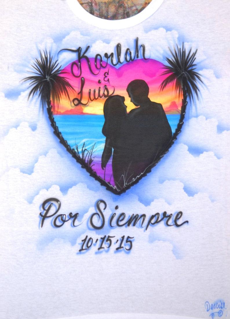 427189fb Airbrush Couple Sunset Beach Scene Heart Shape Silhouette   Etsy