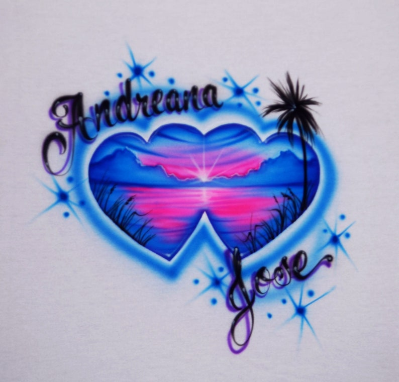 004ac266 Airbrushed T Shirt Couple Double Heart Beach Sunset Blue Pink | Etsy