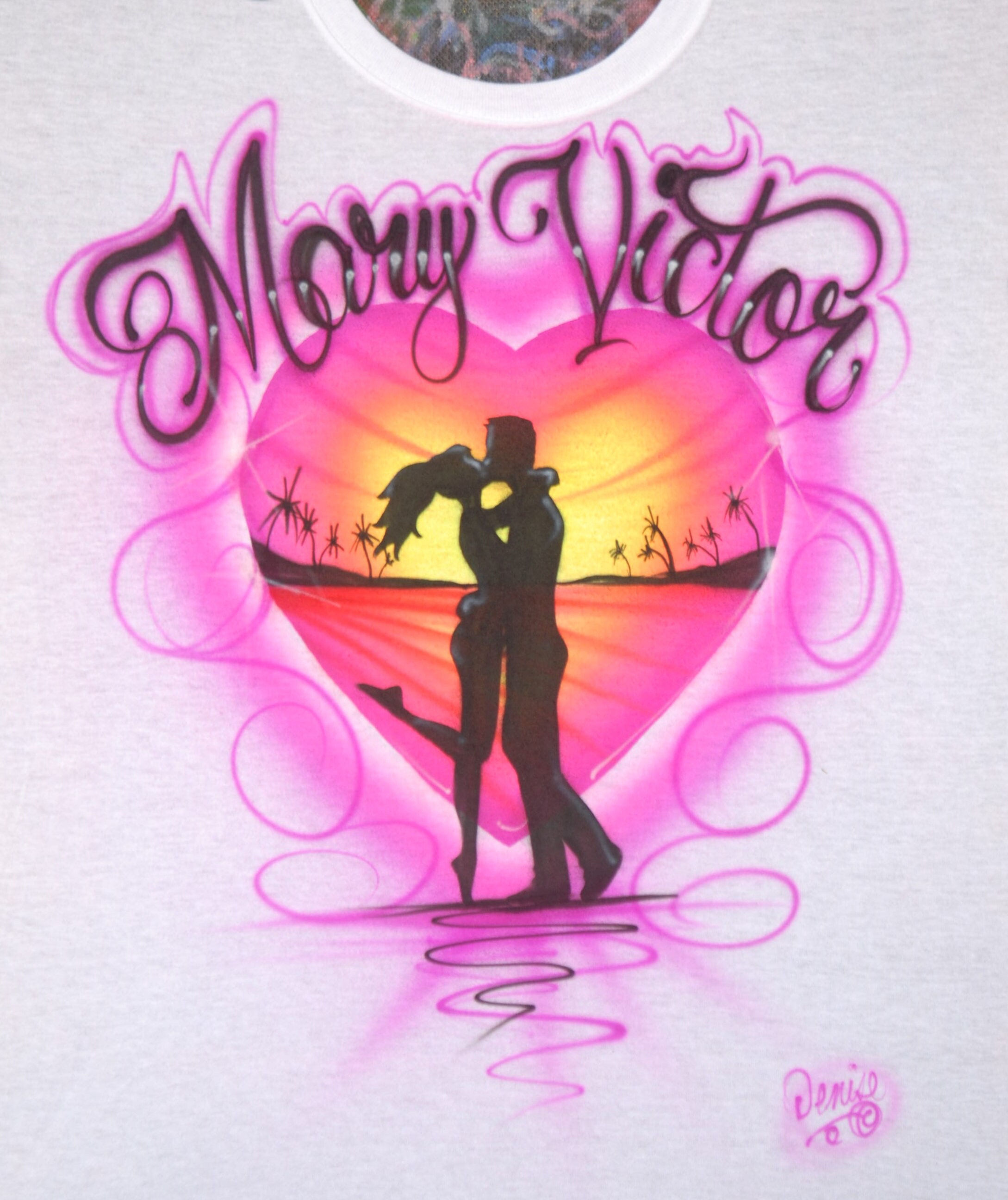 19fea8e0 Airbrush Kissing Couple Heart Shaped Sunset Beach Scene Custom   Etsy