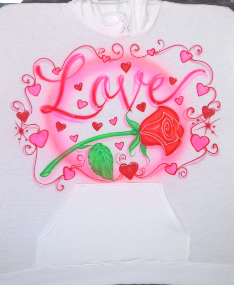 592cf2b7160f8e Airbrush T Shirt Red Rose Name Hearts Pink Red Fluorescent UV