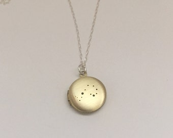 Scorpio constellation locket necklace - antique brass locket with zodiac sign  | custom hand stamped inscription