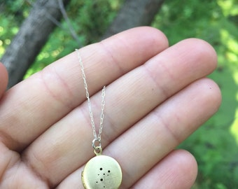 Taurus constellation locket necklace - small antique brass locket | zodiac sign | sterling silver chain | custom hand stamped inscription