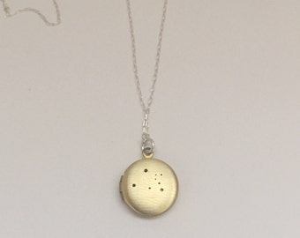 Leo constellation locket necklace | small antique brass locket | zodiac sign jewelry |  custom chain | custom hand stamped inscription