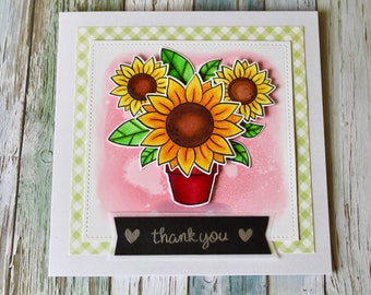 Handmade 3D Thank You Card with Sunflowers
