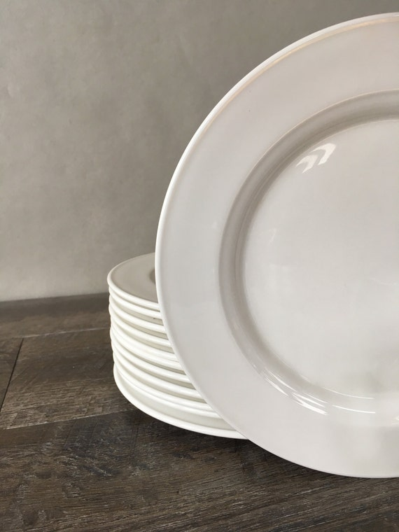 & Vintage Bone China Plates all white Steelite Grosvenor set