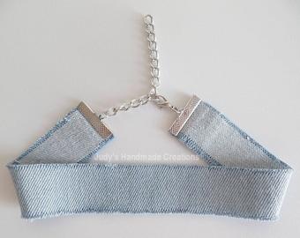 Light Blue Denim Choker, Jean Choker Denim Choker, Distressed Denim Choker,Blue Choker, Blue Jean, Chokers For Women, Popular Necklace