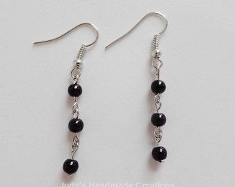 Black Earrings,Black Bead Earrings,Beaded Earrings,Dangle Earrings,Beaded Chain Earrings,Popular Earrings