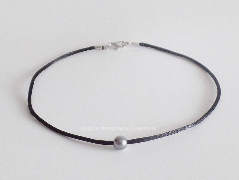 817923919e034 Black Choker Silver Pearl Black Choker, Bead Choker Necklace,White Pearl  Black Choker, Pearl Choker, Single Pearl Necklace, Popular Necklace