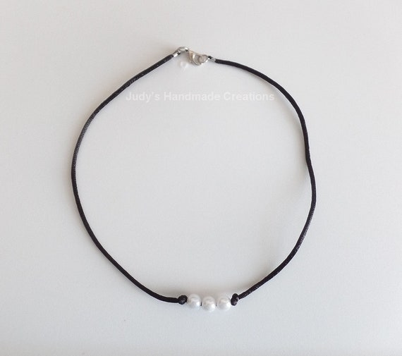 435f1cae9fb57 Three Pearl Choker Necklace, Black Choker, Bead Choker Necklace, Pearl  Choker, Three Pearl Necklace, Popular Necklace