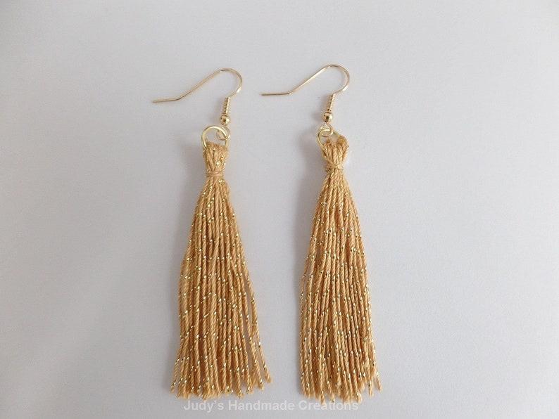 72884c6f713fd Gold Tassel Earrings, Long Gold Earrings, Tassel Earrings, Women Tassel  jewelry, Fringe Tassel Earrings, Gift Under 10, Popular Earrings 4