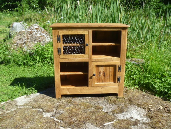 Rustic Pallet Cabinet With Chicken Wire Door Jelly Cabinet   Etsy