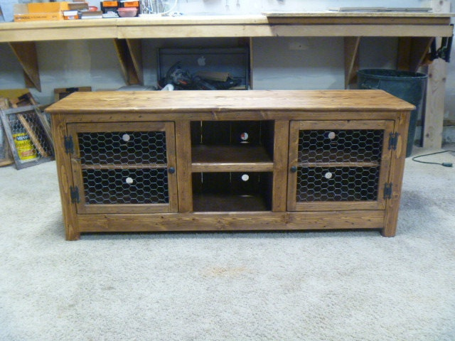 60 Rustic Pallet TV stand cabinet Sideboard reclaimed Etsy