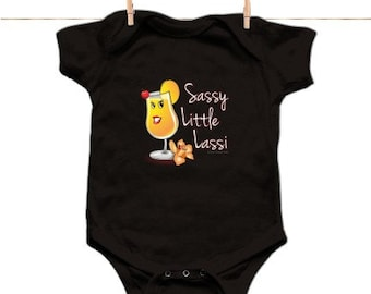 Sassy lil Lassi lap bodysuit - cute Indian inspired baby clothes