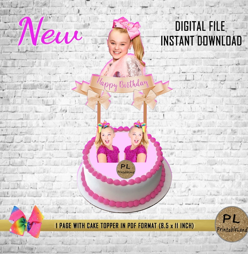 JOJO SIWA Inspired Print Your Own Cake Topper Instant
