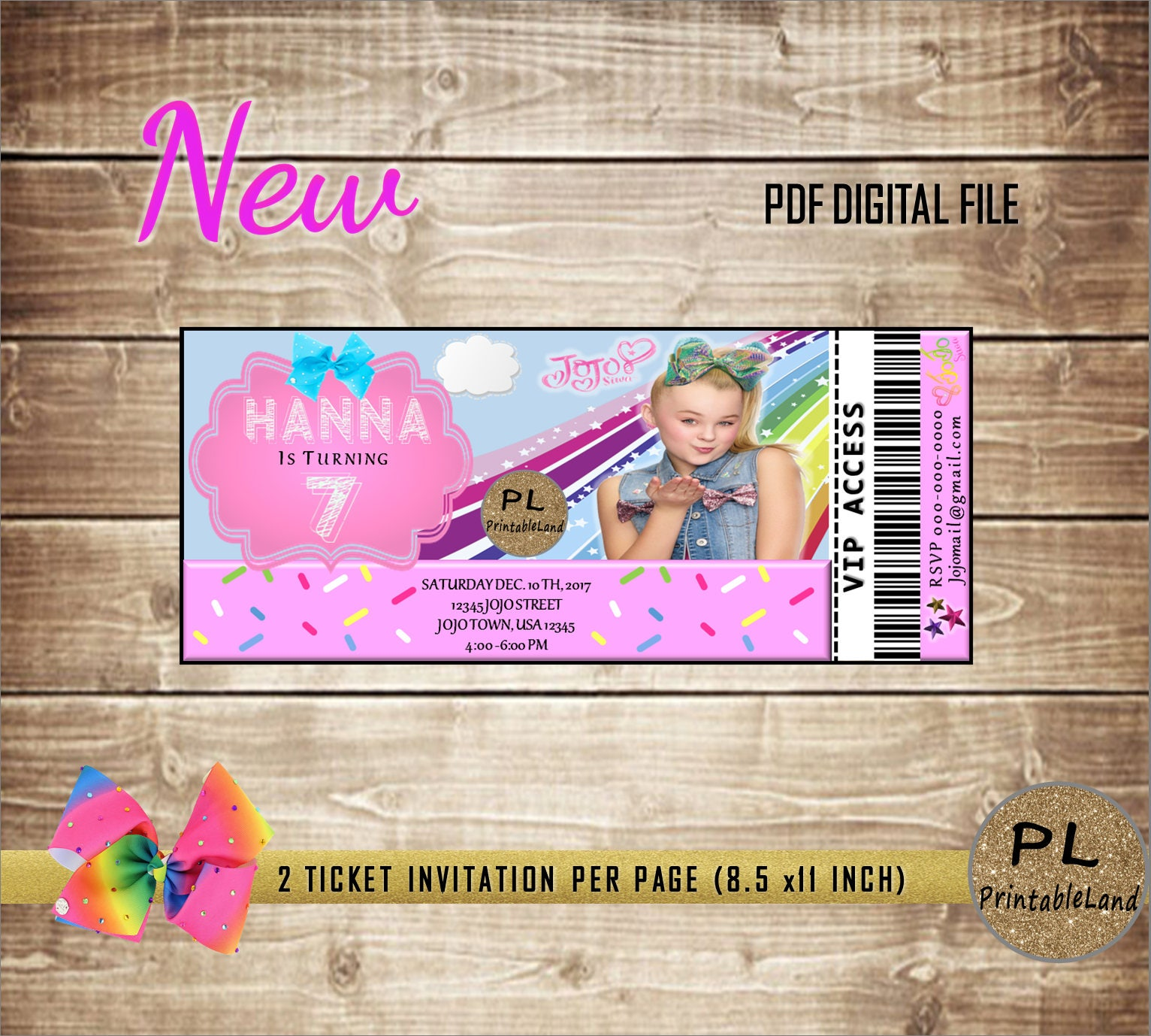 Jojo Siwa Inspired Birthday Jojo Siwa Party Ticket Etsy