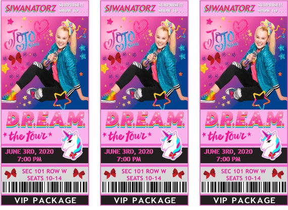 """Jojo Siwa Fake Simulate Ticket Concert to """"D.R.E.A.M. THE TOUR"""", Dream The Tour, Concert Jojo, Jojo Siwa Shows, PERSONALIZED, Send by email"""