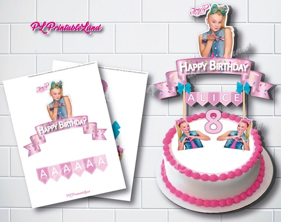 Jojo Siwa Inspired Print Your Own Cake Topper Personalized Etsy