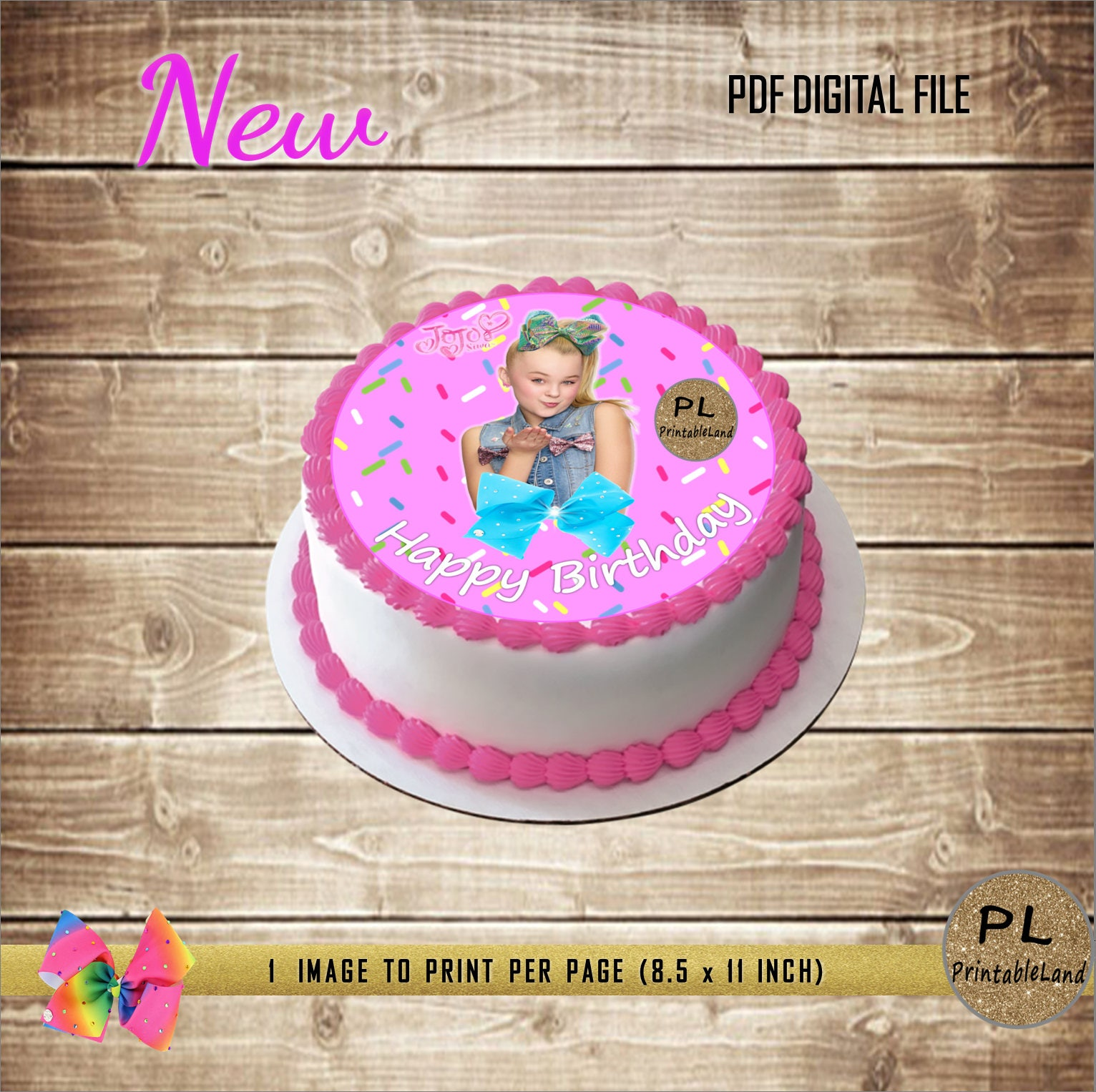 Jojo Siwa Inspired Image To Print Your Own Edible Cake Topper Etsy