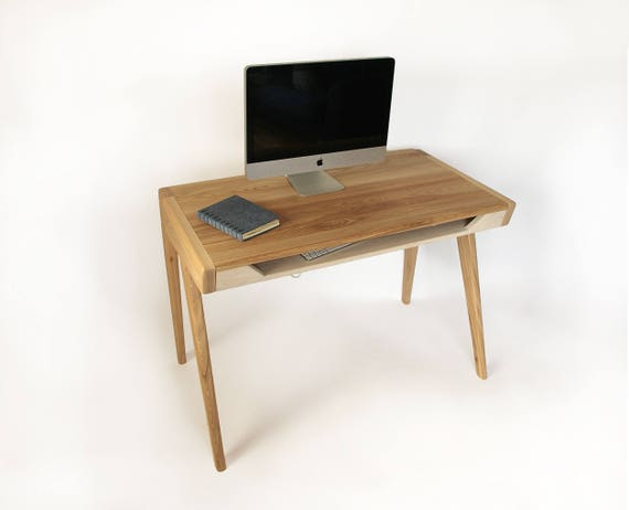 Conran Solid Oak Hidden Home Office Throughout View Images Solid Wood Computer Desk With Drawer For Keyboard Office Etsy Home Office Bureau Furniture Library Ideas Home