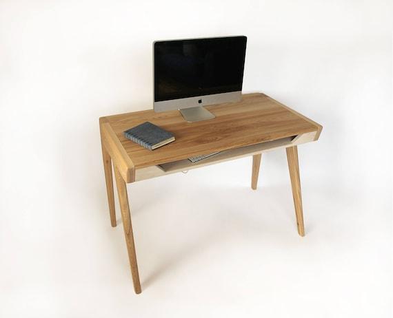 Bureau dordinateur bois massif avec tiroir pour clavier etsy