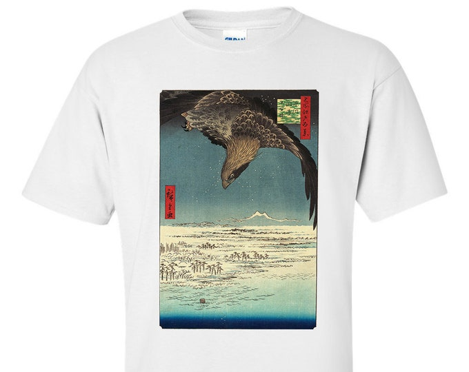 Utagawa Hiroshige Great Eagle, Jūmantsubo Plain at Fukagawa Susakii  Fine Art Mens T-Shirt