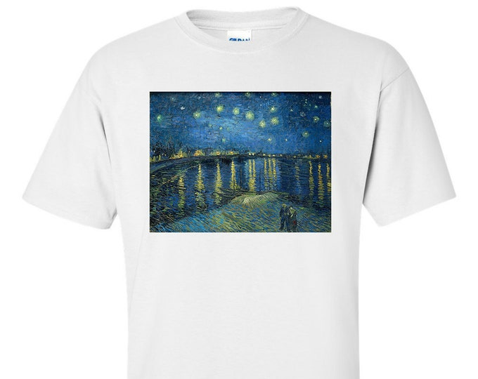 Van Gogh Starry Night Over The Rhone Fine Art Mens T-Shirt