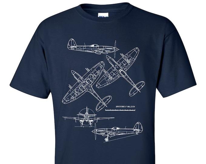 Supermarine Spitfire Technical Drawing Blueprint T-Shirt