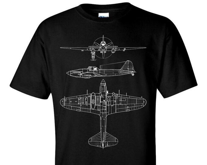 IL-2 Sturmovik Technical Drawing Blueprint USAF WW2 Fighter Aircraft T-Shirt