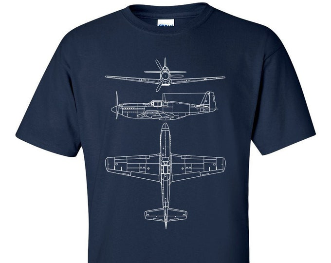 P51 Mustang Technical Drawing Blueprint USAF WW2 Fighter Aircraft T-Shirt