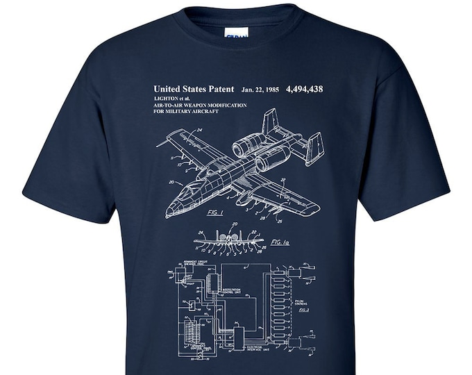 A10 Warthog Air To Air Weapon Mod USAF Patent Blueprint T-Shirt