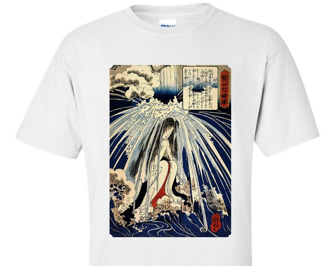 Utagawa Kuniyoshi Hatsuhana Doing Penance Under The Tonosawa Waterfall Fine Art T-Shirt