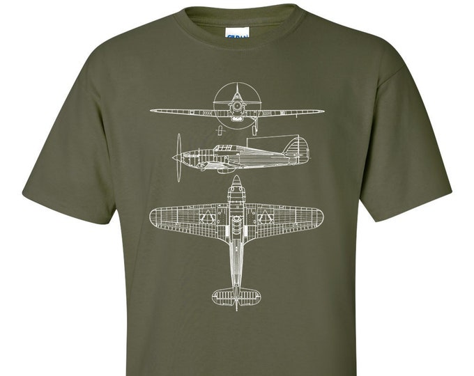 Hawker Hurricane Technical Drawing Blueprint RAF WW2 T-Shirt