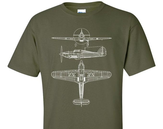 Hawker Hurricane Technical Drawing Blueprint RAF WW2 T-Shirt