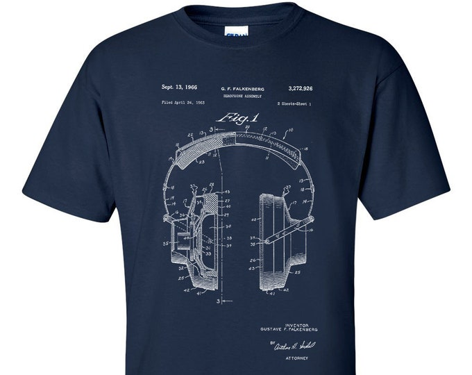 Headphone Assembly Patent Blueprint T-Shirt