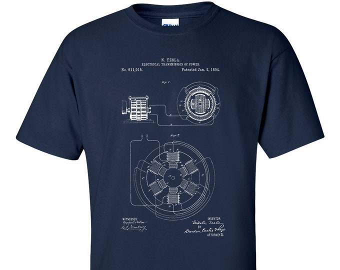 Nicola Tesla Electrical Transmission Patent T-Shirt  Patent Art Blueprint T-Shirt