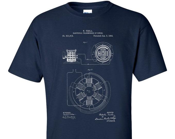 Nicola Tesla Electrical Transmission Patent T-Shirt  Patent Art Blueprint T-Shirt