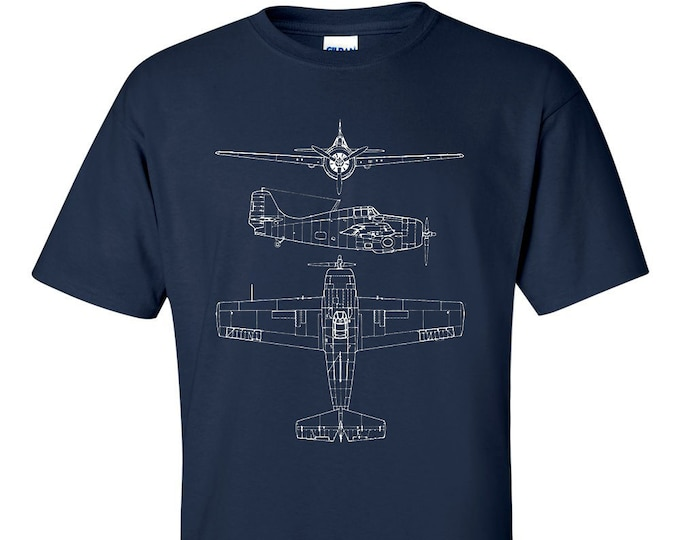 Gruman Wildcat Technical Drawing Blueprint USAF WW2 T-Shirt